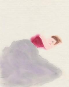 眠る赤い服の女性